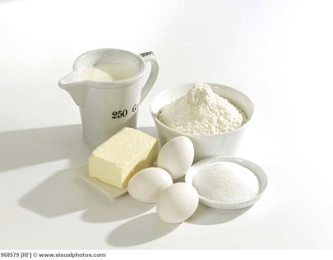 various baking ingredients butter eggs sugar flour 968579